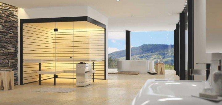 Die Bio-Sauna Vista mit asymmetrischer Täferung bietet dank ihrer grosszügigen, rahmenlosen Verglasung spannende Ein- und Ausblicke.